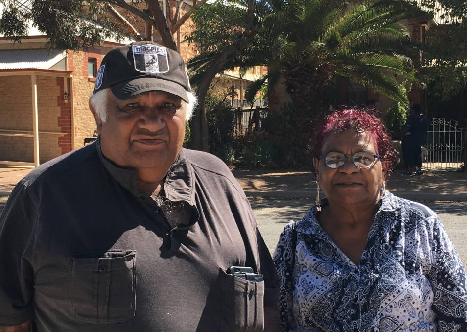 CONCERNS: 'Tiger' McKenzie and Cheryl Coulthard-Waye attended a meeting of the Adnyamathanha Traditional Lands Association in Hawker in November.