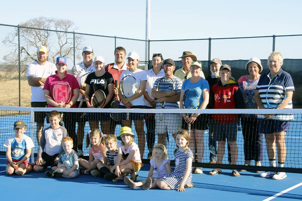 NEW COURTS: Stokes Bay Tennis Club members at the first event on the new courts. Adults (back row) are Will Stanton, Sarah McCormack, Michael Stanton, Fiona Stanton, Caleb Pratt, Marina Gregor, Stacey Duka, Mark Bowden, Eric Baker, Danielle Bowden, John Stanton, Isaac Bowden, Carol Stanton, Kate Stanton; children (front) are Caleb Bowden, Lewis Stanton, Cameron Stanton, Annabelle Stanton, Addison Stanton, Abigail Bowden, Matilda Stanton and Grace Stanton.