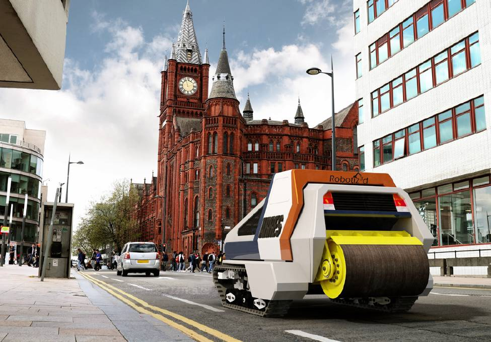 Artists impression of Robotiz3ds ARRES model (Autonomous Road Repair System). Picture: Robotiz3d.