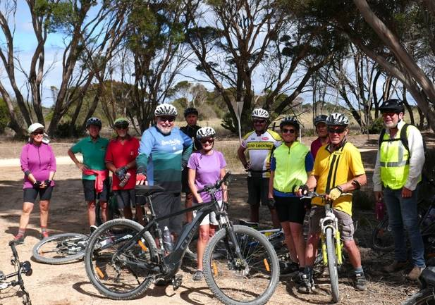 GEARED UP: Cyclists Jean Turner, Jane Evans, Ants Harris, Paull Marlow, Trevor Mutton, Cheryl Casey, Graeme Casey, Jenni Harris, Wilma Oomen, Dave Creagh, Lloyd Berry. Photo: Supplied